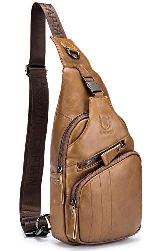 BULLCAPTAIN Leather Men Sling Bag Casual Crossbody Chest Bags Travel Daypack (Yellow brown)