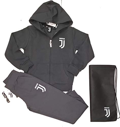 Completo Felpa + Pantaloni Tuta Uomo Adulto Juventus FC Juve Prodotto Ufficiale (Grigio) + Omaggio Zainetto Porta Tuta (M)