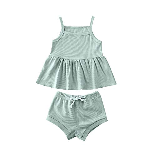 Hnyenmcko Pasgeboren Baby Meisje Kleding Band Mouwloos T-Shirt Tops en Shorts Broek Effen Kleur Zomer Outfit