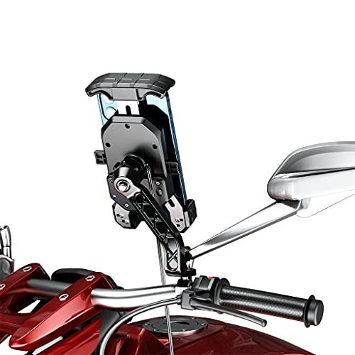 Meipai Soporte Para Teléfono Móvil De 3,5 a 6,5 pulgadas, Soporte Para Cargador Inalámbrico De 15 W, Soporte Para Espejo Retrovisor Con Cargador Rápido USB C PD Para Motocicleta