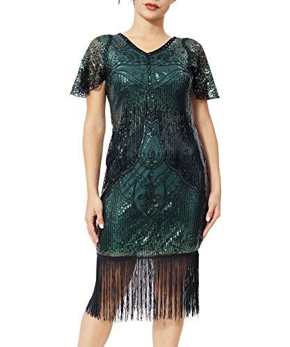 Geplaimir 20er Jahre Kleider Damen Flapper Dress Charleston Kleider V Ausschnitt The Great Gatsby Motto Party Fasching Karneval Kostüm Schwarz Grün 009CM