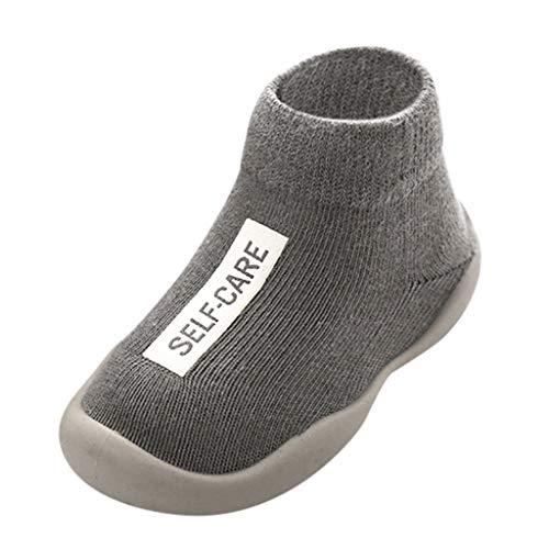 Calzado Casual Infantil Zapatos De Goma Antideslizantes Calcetines De Punto Zapatos De Casa OtoñO Nuevas Botas Desnudas Zapatos para BebéS Y NiñOs ReciéN Nacidos Zapatos De Primer Paso(Gris,21EU)