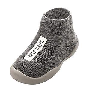 Calzado Casual Infantil Zapatos De Goma Antideslizantes Calcetines De Punto Zapatos De Casa OtoñO Nuevas Botas Desnudas Zapatos para BebéS Y NiñOs ReciéN Nacidos Zapatos De Primer Paso(Gris,25EU)