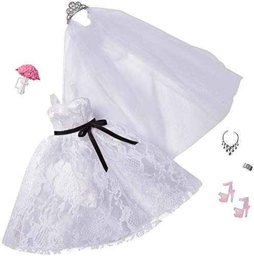 Barbie Fashion Pack: Bridal Outfit Doll with Wedding Dress, Veil, Shoes, Necklace, Bracelet & Bouquet, Gift for Kids 3 to 8 Years Old