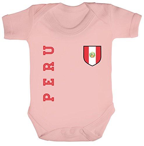 Wappen Fußball WM Fanshirt Gruppen Strampler Bio Baumwoll Baby Body kurzarm Jungen Mädchen Fan Trikot Peru, Größe: 12-18 Monate,Powder Pink