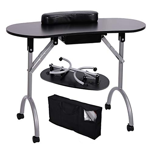 Portable Nanicure Nail Table, Foldable & Moveable Manicure Table Workstation with Large Drawer/Wrist Pad/Carrying Case for Spa Beauty Salon (Black)
