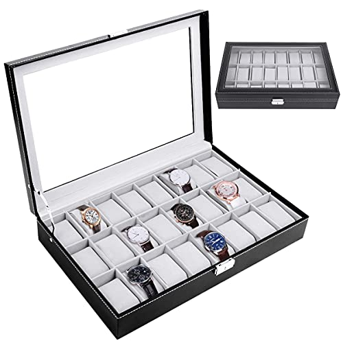 JFIEEI 24 Slot Watch Dislpay Box Organizer Leather Watch Storage Case with Glass Topped, Velvet Lining, Cushions, Jewelry Storage Boxes for Men Women Dad Husband Grandpa Birthday Gifts, Black