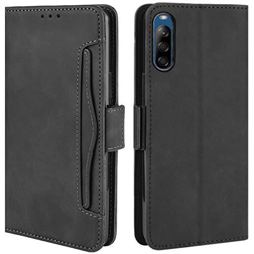 HualuBro Handyhülle für Sony Xperia L4 Hülle Leder, Flip Hülle Cover Stoßfest Klapphülle Handytasche Schutzhülle für Sony Xperia L4 Tasche (Schwarz)