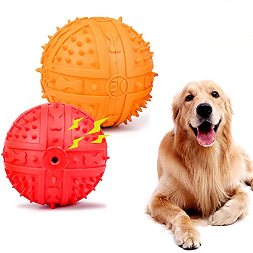 pet supplies balls Wainbowa 2pack Squeaky Balls for Medium Large Dogs Nature Rubber Ball Dog Interactive Fetch Play