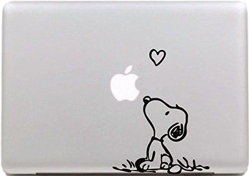 "Vati Hojas desprendibles Creativo Amor Snoopy Sticker Decal Skin Arte Negro para Apple Macbook Pro Aire Mac 13""15"" Pulgadas/Unibody 13""15"" Pulgadas portátil"