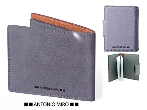 Momparler1870 Set 2-teilig, Geldbörse Leder und Kartenfach Leder grau Antonio Miro