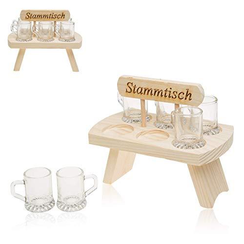 Schnapstablett Schnapsbank aus Holz Tablett inkl 6 Gläser Schnapsgläser Holztablett aus Buche mit Henkel Aufschrift: Stammtisch