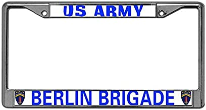 Chrome Plate Frame License Plate Tag Frame Free Screw Caps Included Fit All Standard US US Army Berlin Brigade License Plate Frame Automotive License Plate Frame License Plate Aluminum Frame