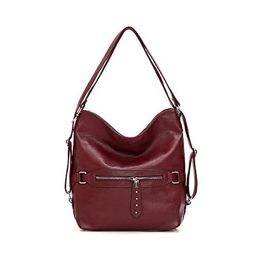 Damen-Handtasche, multifunktional, große Kapazität, aus weichem Leder, Damen, Umhängetasche, modisch, Weinrot (Rot) - 95jhgj