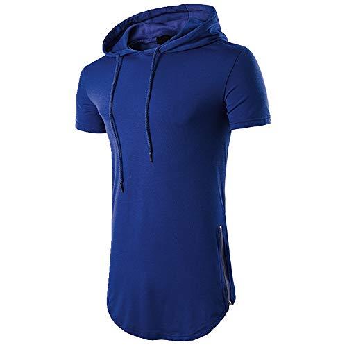 NOBRAND Sommer-T-Shirt für Herren, mit Kapuze, Reißverschluss, langärmlig Gr. M, blau
