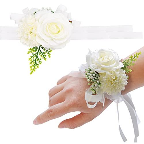 Miotlsy Lot de 2 bracelets élastiques en forme de rose avec ruban et strass pour mariage, bal de fin d'année, couleur ivoire
