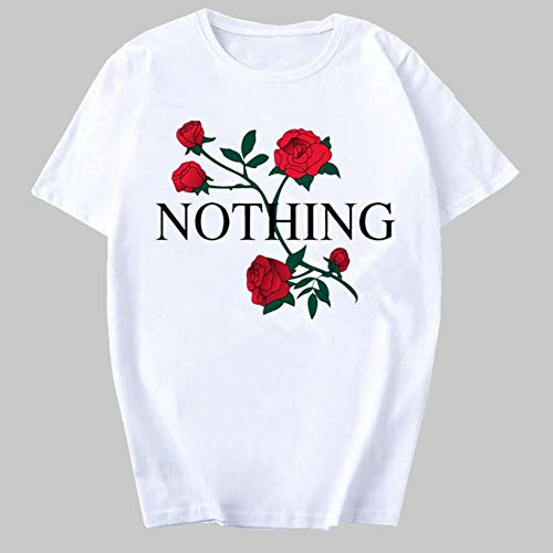 YANGPP Pink Heart Flower Print T Shirt Women Casual Funny Tshirt Gift Lady Girl Female T Shirts Streetwear Tee Top Clothing,T Shirts zh8001,S