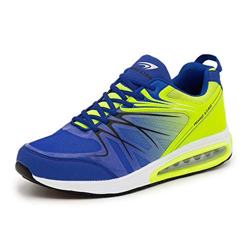 LEKANN No.308 Herren | Sportschuhe Turnschuhe Laufschuhe Sneaker | mit Dämpfung und rutschfest | Blau-Grün Gr. 46 EU