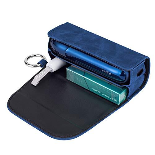 Wooce アイコス3ケース 新型 iQOS3 専用ケース 電子たばこ 保護ケース 革 カバー おしゃれ 人気便利収納 -ブルー