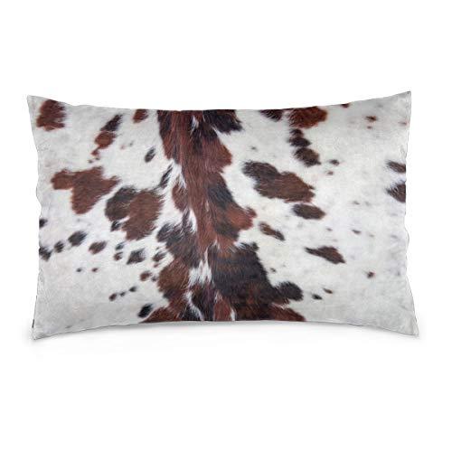 Fundas de almohada Piel de vaca blanca de cuerno largo de 16