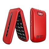 WEUN Teléfono abatible 3G Desbloqueado, botón Grande SOS, teléfonos móviles abatibles, Gran Volumen Desbloqueado, fácil de Usar, teléfono móvil, para Personas Mayores, niños