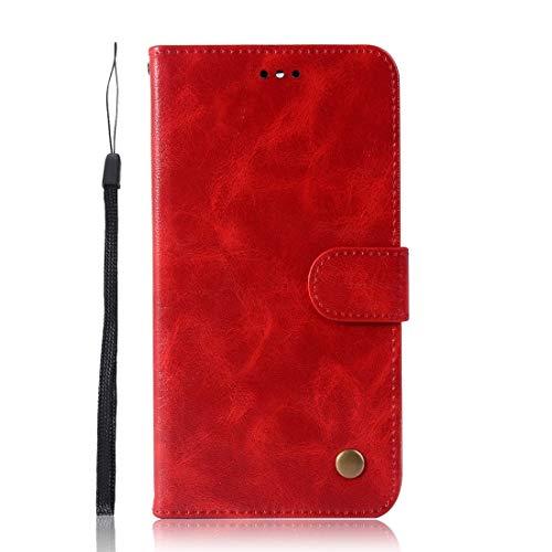 GGQQ YDYX AYD para Sony Xperia 10 Plus Retro Copper Button Crazy Horse Horizontal Flip PU Funda de Cuero con Soporte y tragamonedas y Billetera y cordón (Rojo Vino) (Color : Red)