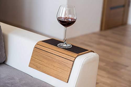 Tavolo da bracciolo per divano, tavolo per divano, vassoio da bracciolo per divano, vassoio sottobicchiere in legno per divano, tavolo da bracciolo personalizzato per divano con tessuto. 3. giallo.