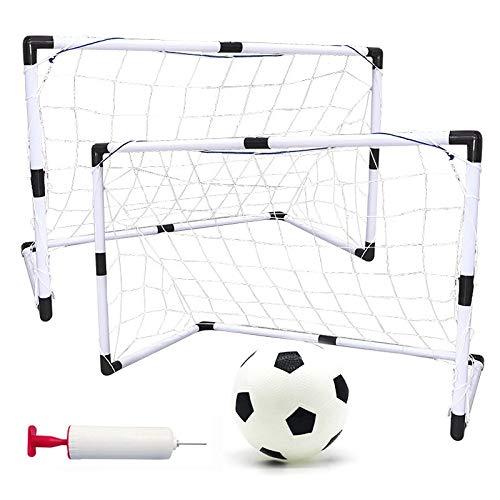 Guiping Juego de 2 juegos de porterías de fútbol desmontables para niños, portátil, para práctica de Scrimmage, puerta de fútbol, color blanco y negro