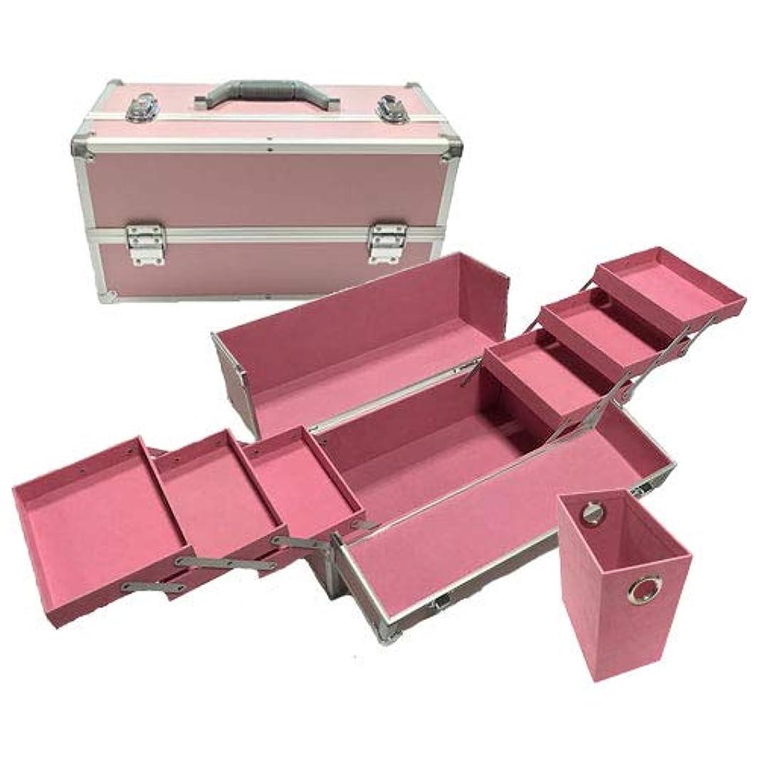 リライアブル コスメボックス ワイド RB203-PP 鍵付き プロ仕様 メイクボックス 大容量 化粧品収納 小物入れ 6段トレー ベロア メイクケース コスメBOX 持ち運び ネイルケース