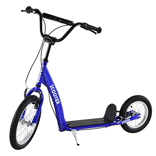 Aosom Youth Kick Scooter Adjustable Handlebar Teens Ride On Toy for 5+ w/ Front and Rear Dual Brakes Inflatable Wheels, Blue