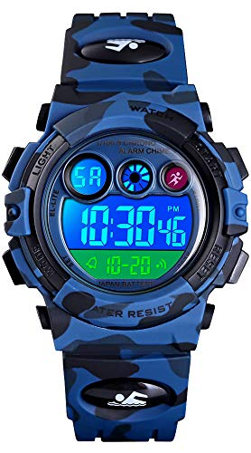 Jungen Digitaluhr Kinder Sport 5 ATM Wasserdicht Digital Uhren Alarm Timer LED Alarm Stoppuhr Datum Multifunktional Kinderuhren Armbanduhr für Jugendliche Jungen Outdoor Quarz