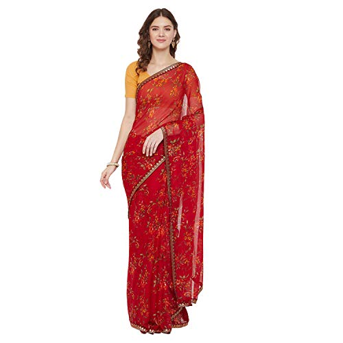 Womanista Women's Chiffon Floral Printed Saree