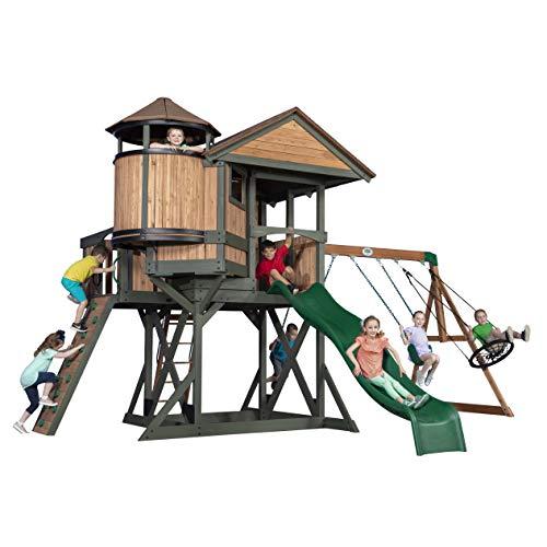Backyard Discovery Spielturm Eagles Nest Elite aus Holz | XXL Spielhaus für Kinder mit Rutsche, Schaukel,...