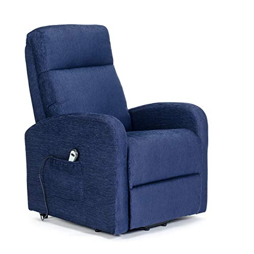 POLTRONE ITALIA - Electric Armchair alzapersona, Recline up in Bed, Lifting feet, Wheels System, Engine 1 - Chanel-Lift-1M-TABLU Blue Stain Fabric