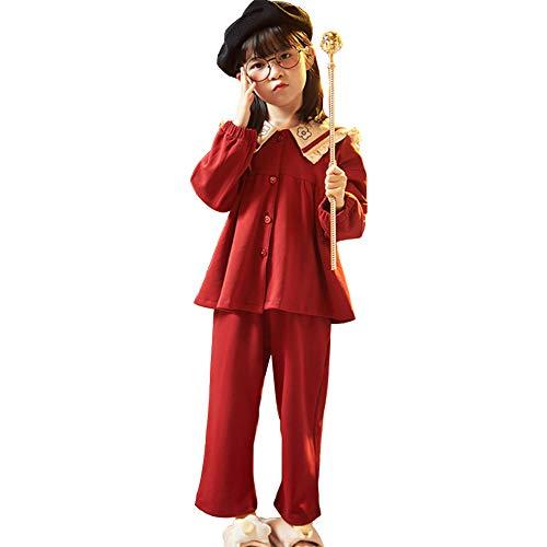 Preisvergleich Produktbild WX-ICZY Mädchen Prinzessin Stil Pyjama Set,  Warm super weiche Bequeme Nette Revers Rabbit Ears Cartoon Thin Pyjamas Set, 150cm