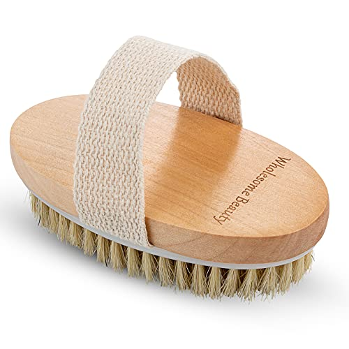 Dry Skin Body Brush - Improves Skin's Health and Beauty - Natural Bristle - Remove Dead Skin and...