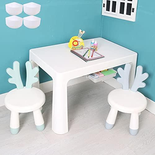 Juego de mesa y silla para niños, mesa y silla de estudio para niños de plástico para el hogar, con patas elevadas + 2 cajones, cómodo escritorio antideslizante, apto para leer, comer, juegos /