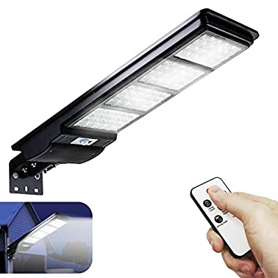 Dusk to Dawn Outdoor Lighting Solar Street Light 8000LM Solar Flood Lights Outdoor with Motion Sensor and Remote Control JSIEEM