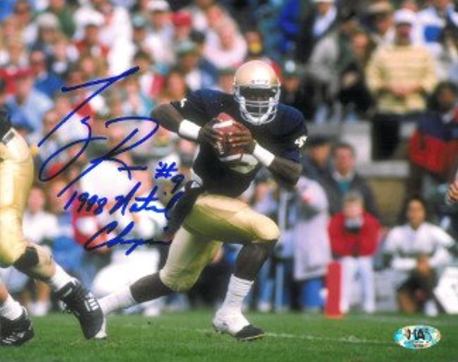Tony Rice signed Notre Dame Fighting Irish 8x10 Photo 1988 National Champs