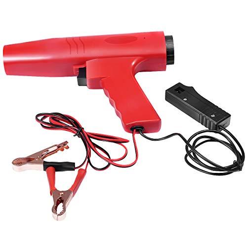 DREAMADE Zündzeitpunktpistole Zündlichtpistole, Motor Timing Light, Zündzeitpunkt Stroboskoplampe Induktive Timing Lampe, Zündeinstelllampe Blitzpistole, 12V, Rot