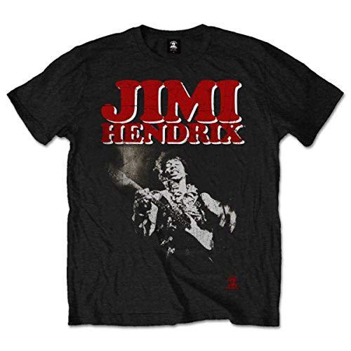Jimi Hendrix Herren Block Logo T-Shirt, Schwarz-Schwarz, Medium