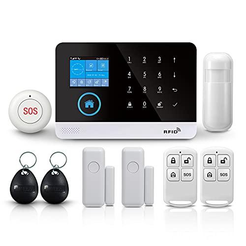 PGST Allarme Casa Wifi,WiFi + GSM + GPRS Antifurto Casa Senza Fili,Set da 9 pezzi Smart Life Dispositivi Support Tuya,Compatibile Google Home ed Alexa (Kit da 9 pezzi)