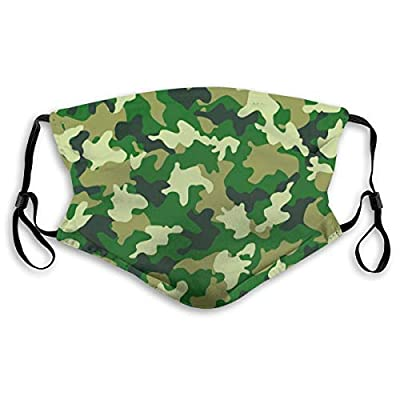 HOTBABYS Camouflage Reusable Activated Carbon Filter Face Covering with Replaceable Filter for Men Women S