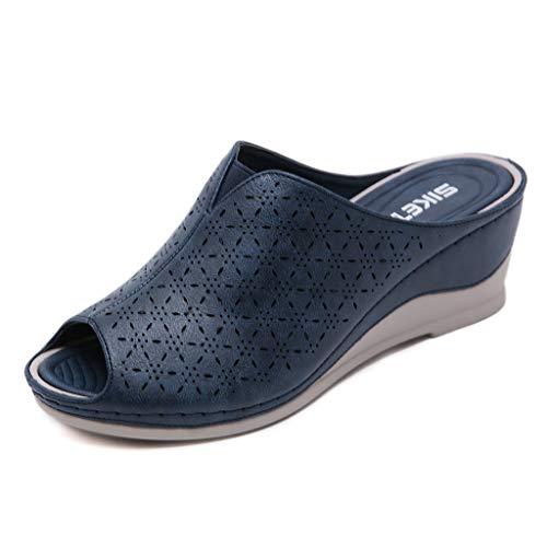 Chanclas para Mujer Verano Playa Zapatos de Plataforma de Boca de Pescado Cuña Sandalias y Chanclas Flip-Flops Antideslizante Chanclas de Damas Zapatillas de Estar por casa