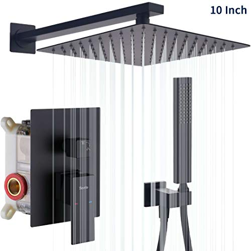 Tenfe Shower System, Wall Mounted Shower Faucet Set with 10 Inch High Pressure Rain Shower Head and Handheld, Matte Black Square Mixer Shower Combo for Bathroom (Contain Rough-In Valve Body and Trim)