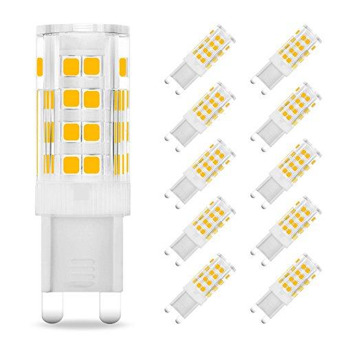 Eslas G9 3.5 W lampadine LED (330LM, 35 W alogena equivalente),2700 K bianco caldo,AC 220 - 240 V,90% risparmio energetico[classe di efficienza energetica A +](Warm White 3.5w, Pack of 10)