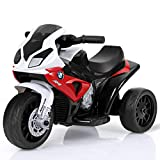 HONEY JOY Kids Ride On Motorcycle, 6V Battery Operated 3 Wheels Toy Tricycle with Headlight & Music, Foot Pedal, Electric Motorized Bicycle for Boys Girls (Red)