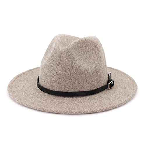 Lisianthus Womens Classic Wool Fedora with Belt Buckle Wide Brim Panama Hat A-Oatmeal