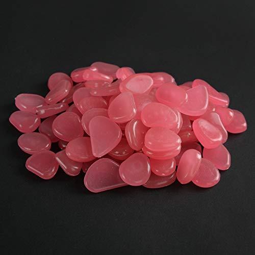 Yofundo Piedras luminosas que brillan en la oscuridad, para decoración al aire libre, pecera, piedras de piedras para acuario, mezcla de colores (500 unidades, rosa)