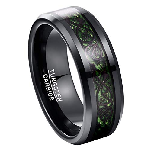 TUNGSTORY 8mm Green Carbon Fiber Inlay Wedding Ring Black Celtic Dragon Tungsten Carbide Engagement Band Size 10